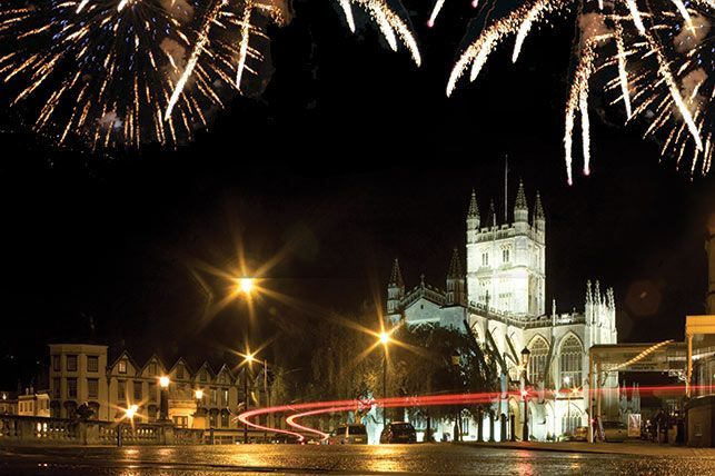 Bath fireworks light up the city centre.