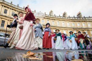 Jane Austen fans enjoy a promenade in Bath